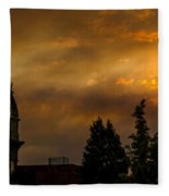 Firey Sunset Over Grants Pass Fleece Blanket