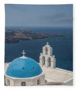Firostefani Church On Santorini Fleece Blanket