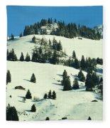 Firs Decoration Winterscape Fleece Blanket