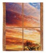 First Dawn Barn Wood Picture Window Frame View Fleece Blanket