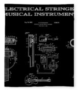 First Electric Guitar 2 Patent Art  1937 Fleece Blanket