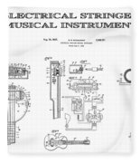 First Electric Guitar Patent Art  1937 Fleece Blanket