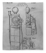 First Gas Pump Patent Drawing Fleece Blanket
