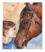 Horse Painting Of Paint Horse And Girl First Kiss Fleece Blanket