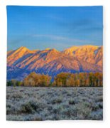 First Light On The Tetons Limited Edition Panorama Fleece Blanket