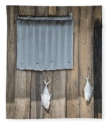Fish Drying Outside Fisherman House Fleece Blanket
