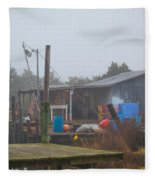 Fish House In Fog Fleece Blanket