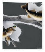 Fish Mount Set 06 B Fleece Blanket