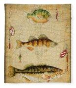 Fish Trio-c-basket Weave Fleece Blanket