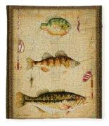 Fish Trio-c-green Fleece Blanket