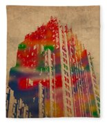Fisher Building Iconic Buildings Of Detroit Watercolor On Worn Canvas Series Number 4 Fleece Blanket