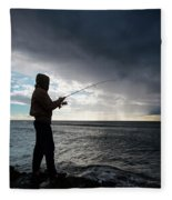 Fisherman Fishing While Storm Blows Fleece Blanket
