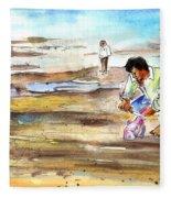 Fisherman On Las Canteras Beach Fleece Blanket