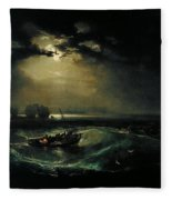 Fishermen At Sea Fleece Blanket