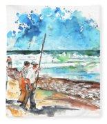 Fishermen In Praia De Mira 02 Fleece Blanket