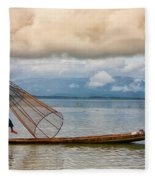 Fishermen In The Inle Lake. Myanmar Fleece Blanket