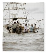 Fishermen Reel In Line From The Back Fleece Blanket