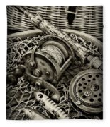 Fishing - All That Gear In Black And White Fleece Blanket