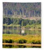 Fishing At George Town Lake Fleece Blanket