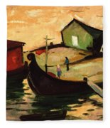 Fishing Barges On The River Sugovica Fleece Blanket