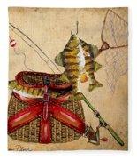 Fishing Basket  Fleece Blanket