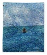 Fishing Boat As A Painting 2 Fleece Blanket