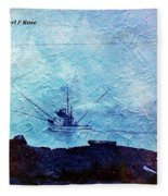 Fishing Boat As A Painting Fleece Blanket