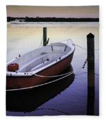 Fishing Boat At Dawn Fleece Blanket