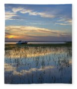 Fishing Boat At The Lake Fleece Blanket