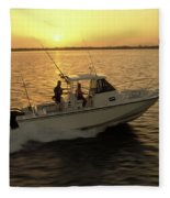 Fishing Boat Coming In At Sunset Fleece Blanket
