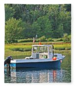 Fishing Boat Cape Neddick Maine Fleece Blanket
