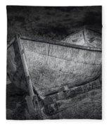 Fishing Boat On Shore In Black And White Fleece Blanket