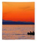 Fishermen At Sunset Puget Sound Washington Fleece Blanket