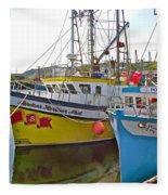 Fishing Boat Reflection In Branch-newfoundland-canada Fleece Blanket