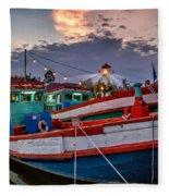 Fishing Boat V2 Fleece Blanket