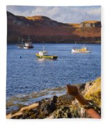 Fishing Boats At Anchor In A Quiet Bay On The Isle Of Skye In Sc Fleece Blanket