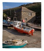 Fishing Boats At Mullion Cove Fleece Blanket