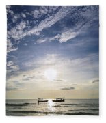 fishing boats at sunset in koh rong Cambodia Fleece Blanket