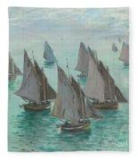 Fishing Boats Calm Sea Fleece Blanket