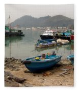 Fishing Boats - Hong Kong Fleece Blanket