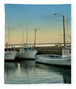 Fishing Boats In A Harbor Towards Evening On Prince Edward Island Fleece Blanket