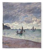 Fishing Boats In Front Of The Beach And Cliffs Of Pourville Fleece Blanket