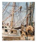 Fishing Boats In Harbour Fleece Blanket