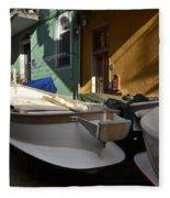 Fishing Boats In Manarola - Cinque Terre Fleece Blanket