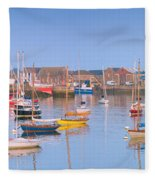 Fishing Boats In The Howth Marina Fleece Blanket