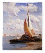 Fishing Craft With The Rivere Degli Schiavoni Venice Fleece Blanket