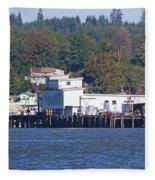 Fishing Docks On Puget Sound Fleece Blanket