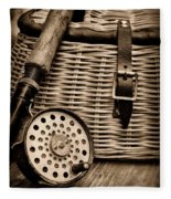 Fishing - Fly Fishing - Black And White Fleece Blanket