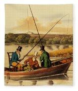 Fishing In A Punt Fleece Blanket