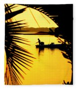 Fishing In Gold Fleece Blanket
